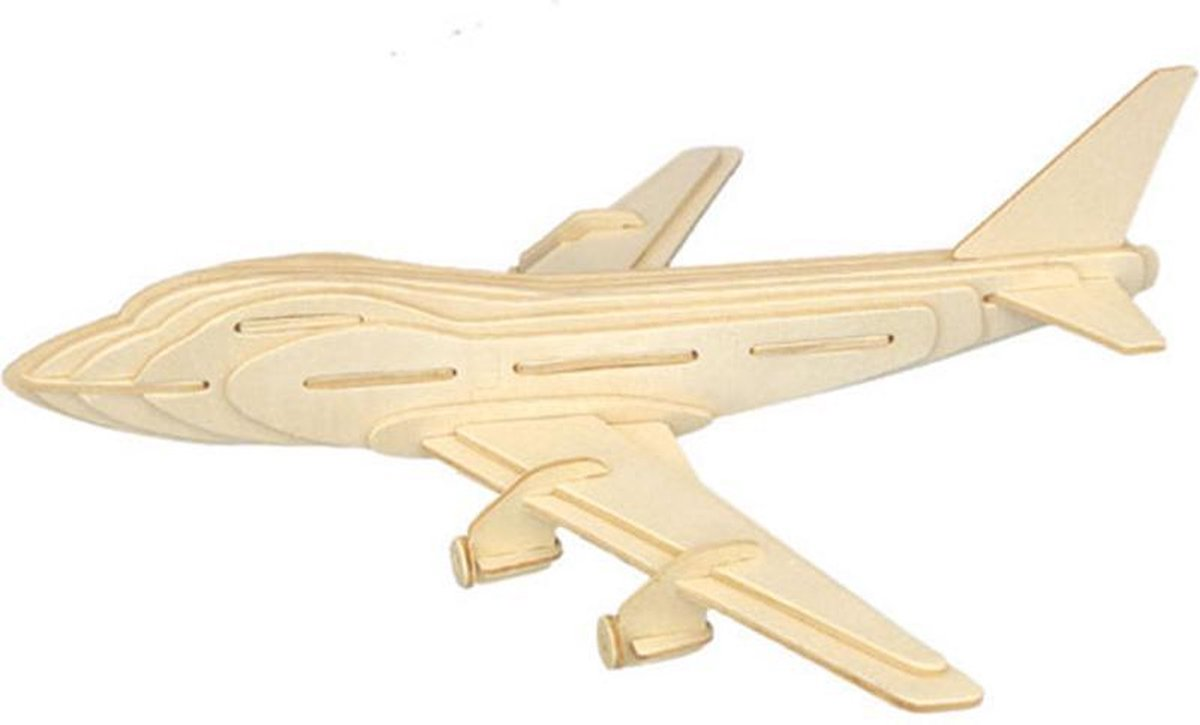 Bouwpakket 3D Puzzel Vliegtuig Boeing 747 - hout