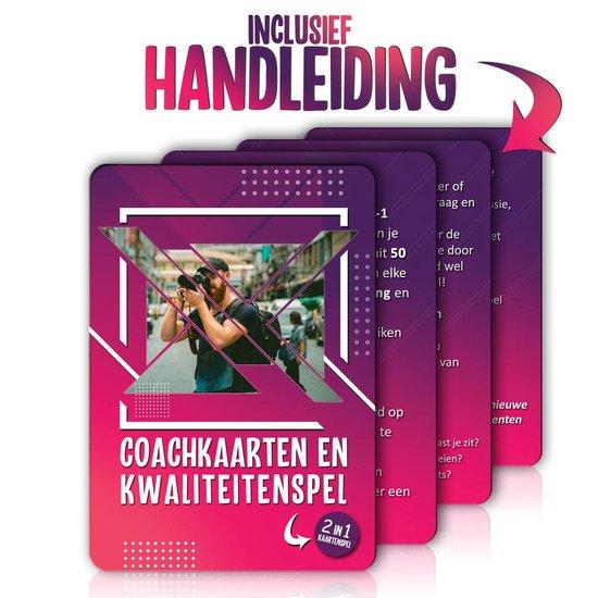 Thumbnail van een extra afbeelding van het spel 2-in-1 Coachkaarten en Kwaliteitenspel - Associatiekaarten en Complimentenspel - Coachingskaarten - Kwaliteiten Kaartspel - Gespreksstarter - Inspiratiekaarten - Complimenten Kaartjes - Gesprekskaarten voor een Openhartig Gesprek