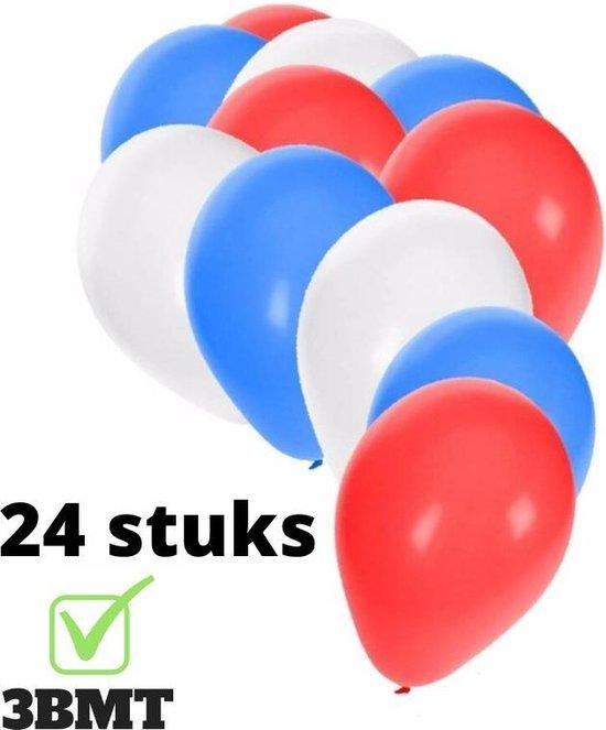 3BMT - Ballonnen rood wit blauw - set van 24 stuks