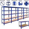 Bundel: 4 x T-Rax Stalen Stellingen 180cm(h) x 90cm(b) x 45cm(d) & Werkbank 90cm(h)x 120cm(b)x 60cm(h) - Kleur: Blauw - Hoogte verstelbaar -  1400 kg  capiciteit