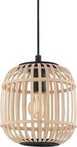 EGLO Bordesley Hanglamp - 1 lichts - Ø21cm. - E27 - Zwart/bamboo