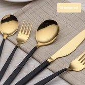 Luxe bestekset goud zwart - 30-delig bestek - 6 persoons bestek set - Mat goud/zwart