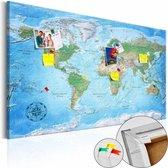 Afbeelding op kurk - Traditionele Wereldkaart, Multikleur , 1luik