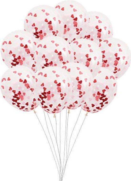 Confetti Ballonnen - 15x - Hartjes Ballonnen - Confetti Ballonnen - Transparant - Valentijn Decoratie - Valentijn Versiering - Hartjes Confetti