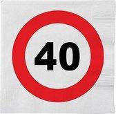 32x 40 jaar leeftijd themafeest servetten verkeersbord 33 x 33 cm - 40e verjaardag papieren wegwerp tafeldecoraties