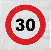 48x 30 jaar leeftijd themafeest servetten verkeersbord 33 x 33 cm - 30e verjaardag papieren wegwerp tafeldecoraties
