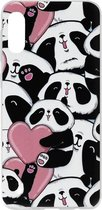ADEL Siliconen Back Cover Softcase Hoesje voor Samsung Galaxy A50(s)/ A30s - Panda Hartjes