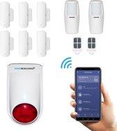 Draadloos alarmsysteem voor woning met WiFi en luide sirene - Beveiligingssysteem zonder abonnement - Uitgebreide Accessoires