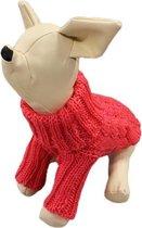 Gebreide kabel trui roze voor de hond