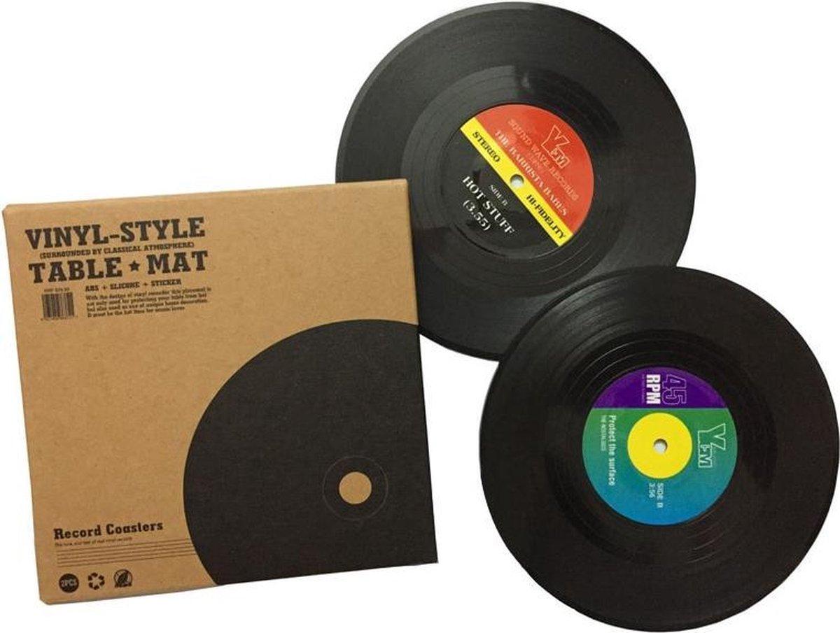 WiseGoods - Onderzetters - Vinyl Record Placemats - Tafel - Koffie Mok Cup - Onderzetter - 6 Stuks - Hittebestendig - Anti-slip Pads