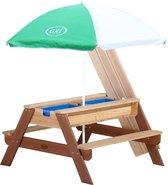 AXI Nick Zand & Water Picknicktafel Bruin - Parasol Groen/wit - FSC Hout