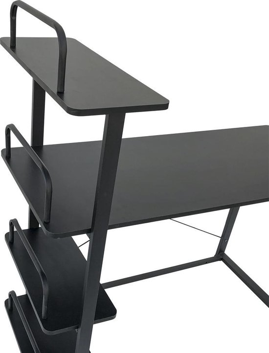 VDD Bureau computertafel - 3 opbergplanken - metaal hout - zwart - 120x50x75 cm