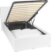 Luna Ottoman | Bed met 450liter opbergruimte | 90 x 200 | Wit | Afneembaar hoofdbord