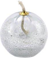 "Glazen urn. Asbestemming. ""Olielampje"" transparant met bubbels. 8 cm hoog."