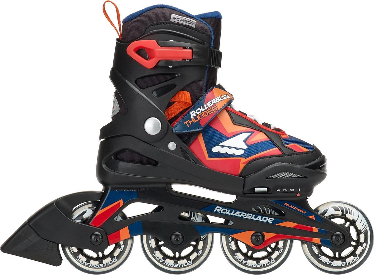 Rollerblade Thunder Inlineskates - Maat 29 - Unisex - zwart/oranje/blauw verstelbaar
