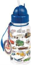 Rex London - Drinkfles Vintage Voertuigen - Mooie Vintage Rietjesbeker met mooie vintage transport print