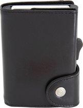 XL Leren Pasjeshouder C-secure, Ruimte voor 8 tot 12 passen, Luxe heren portemonnee met aluminium cardprotector, RFID beveiliging, Uitschuifbare Smart Wallet voor mannen en vrouwen (zwart)