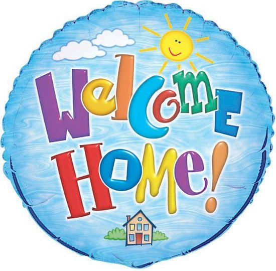 folieballon - welcome home - 45cm - leeg