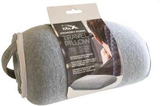 CabinMax Memory Foam Reiskussen - Traagschuim Hoofdkussen - Comfort Reiskussentje - Travel Pillow - Neksteun Voor Reis, Vliegtuig of Auto - U-Vorm – Grijs