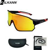 Falkann Fietsbril / Sportbril - Zwart/Rood  - Gepolariseerde Glazen