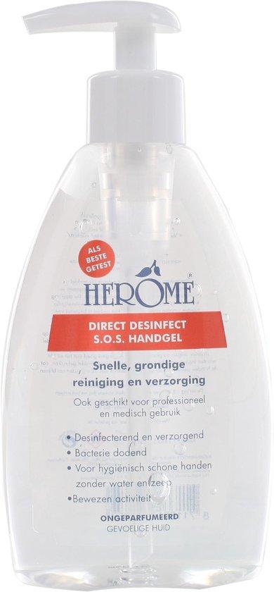 Herome Direct Desinfect Sensitive (Parfumvrij) - 3 x 200ml - Desinfecterende Handgel met 80% Alcohol - Beschemt Tegen Bacteriën en Droogt de Handen Niet Uit