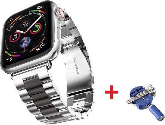 Luxe Metalen Armband Voor Apple Watch Series 1/2/3/4/5/6/SE 38/40 mm Horloge Bandje - iWatch Schakel Polsband Strap RVS - Met Horlogeband Inkorter - Stainless Steel Watch Band - One-Size - Zwart/Zilver Kleurig