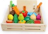 Houten Speelgoed fruit en groente - 17 delig - Mét snijplank en houten messenset - Speelgoedeten drinken - Speelgoed eten en drinken - Speelgoed fruit hout