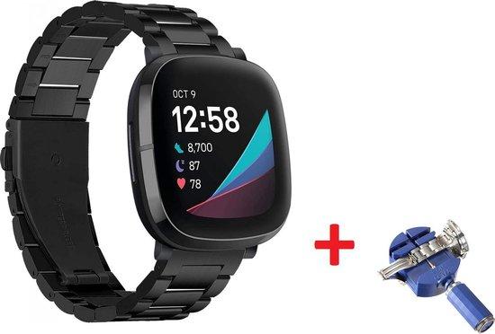 Luxe Metalen Armband Voor Fitbit Sense/ Fitbit Versa 3 Horloge Bandje - Schakel Polsband Strap RVS - Met Horlogeband Inkortset - Stainless Steel Watch Band - One-Size - Zwart