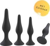Buttplug Set - 4 delige Luxe Butt Plug Set voor Mannen en Vrouwen - Anal Plug Zwart Siliconen