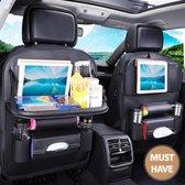 Afbeelding van VITAMO™ Auto Organizer met Uitklapbaar Tafel - Tray - Tablethouder - Laptophouder - Autostoel - Car Organiser - Fleshouder - Tissuehouder - Stevig PU Leer - Luxe Mat Zwart