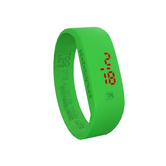 TOO LATE – siliconen horloge – ORIGINAL LED WATCH – ACD Green – polsmaat M