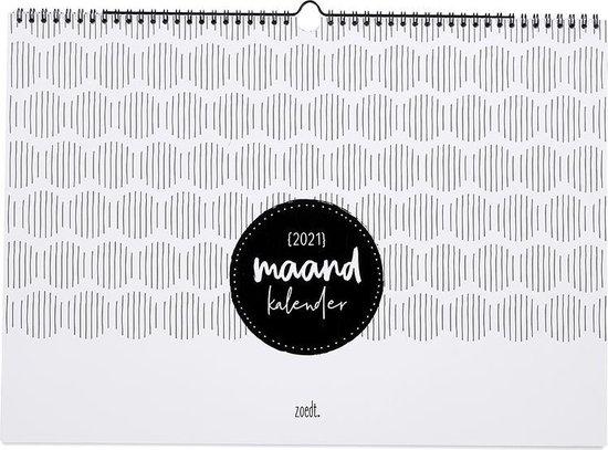 Afbeelding van Zoedt - Maandkalender - 2021 - A3 formaat - zwart wit