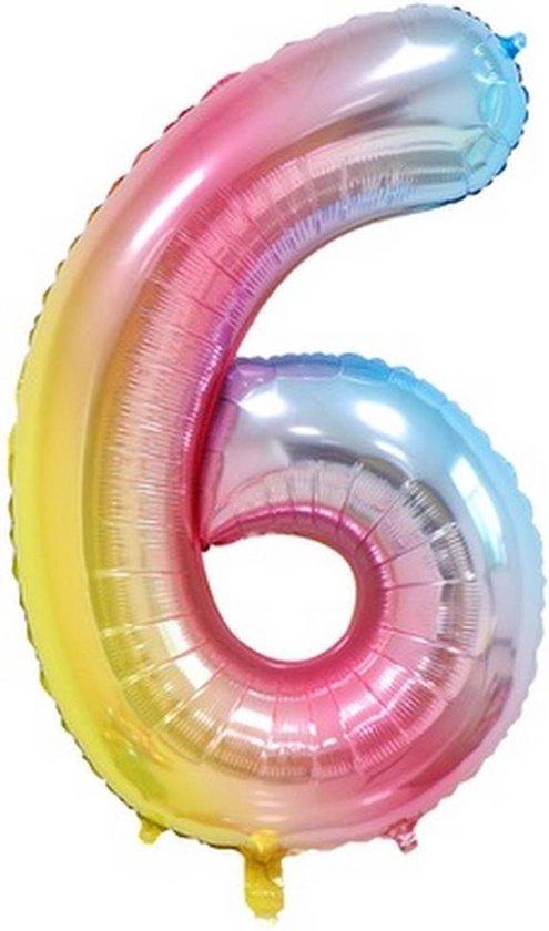 Folie Ballonnen XL Cijfer 6 , Blauwe Regenboog, 86cm, Verjaardag, Feest, Party, Decoratie, Versiering, Miracle Shop