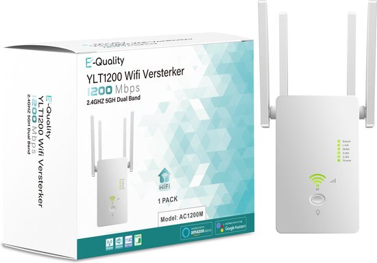 E-Quality YLT1200 - Wifi Versterker - 1200 MBPS - 2.4GHZ 5GH Dual Band - Wifi Repeater - Wifi Versterker Draadloos - Wifi Versterker Stopcontact