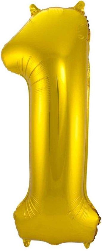 Ballon Cijfer 1 Jaar Goud Verjaardag Versiering Gouden Helium Ballonnen Feest Versiering 86 Cm XL Formaat Met Rietje