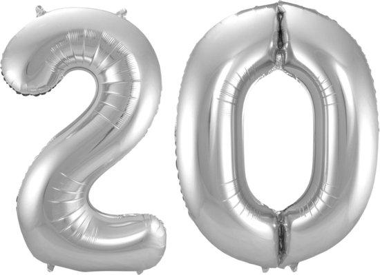 Ballon Cijfer 20 Jaar Zilver Verjaardag Versiering Zilveren Helium Ballonnen Feest Versiering 86 Cm XL Formaat Met Rietje