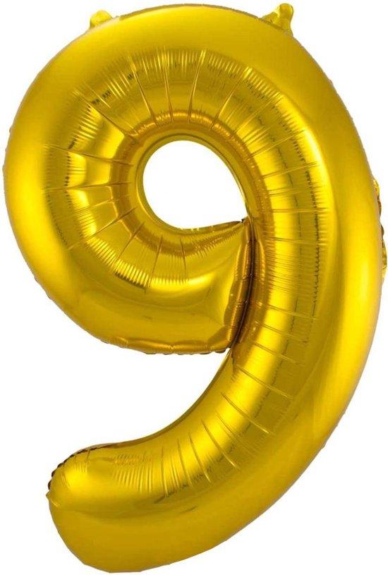 Ballon Cijfer 9 Jaar Goud Verjaardag Versiering Gouden Helium Ballonnen Feest Versiering 86 Cm XL Formaat Met Rietje