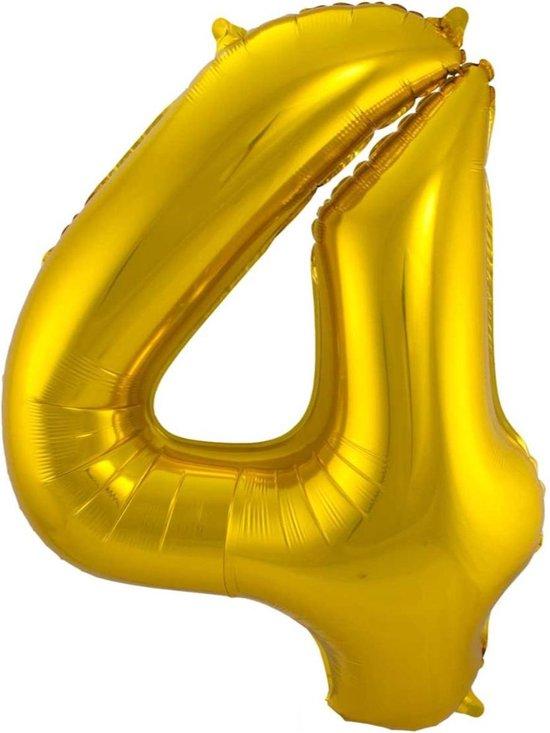 Ballon Cijfer 4 Jaar Goud Verjaardag Versiering Gouden Helium Ballonnen Feest Versiering 86 Cm XL Formaat Met Rietje