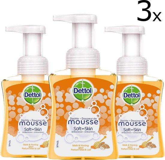Dettol Handzeep Zachte Mousse Melk & Honing - 3 x 250 ml - Grootverpakking