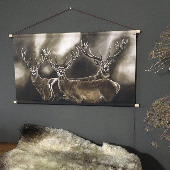 Bol Com Wanddoek Drie Herten 120 X 75 Cm Kunst Reproductie Landelijke Wanddecoratie
