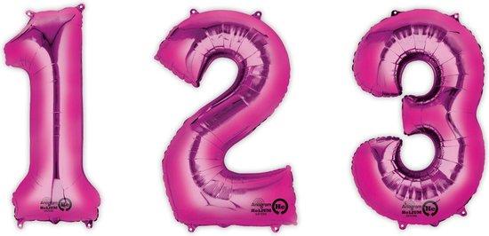 UNIQUE - Fuchsia aluminium cijfer ballon - Decoratie > Ballonnen