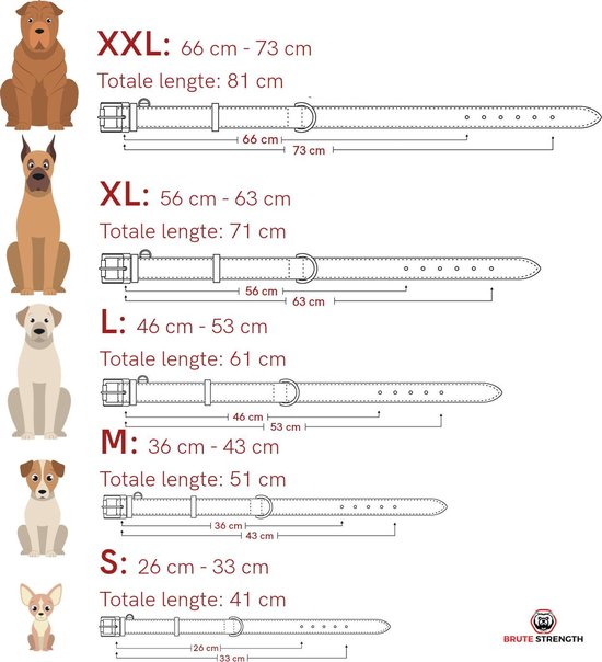Brute Strength - Luxe leren halsband hond - Zwart met zwarte stiksels - L - 61 x 3,5 cm - leren hals band