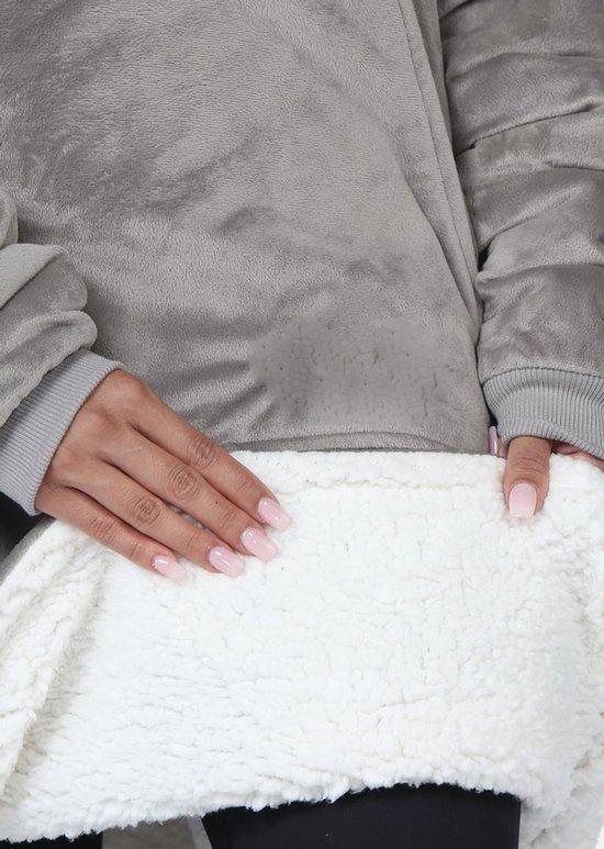 One size hoodie blanket - Deken met mouwen - Sherpa - Grijs