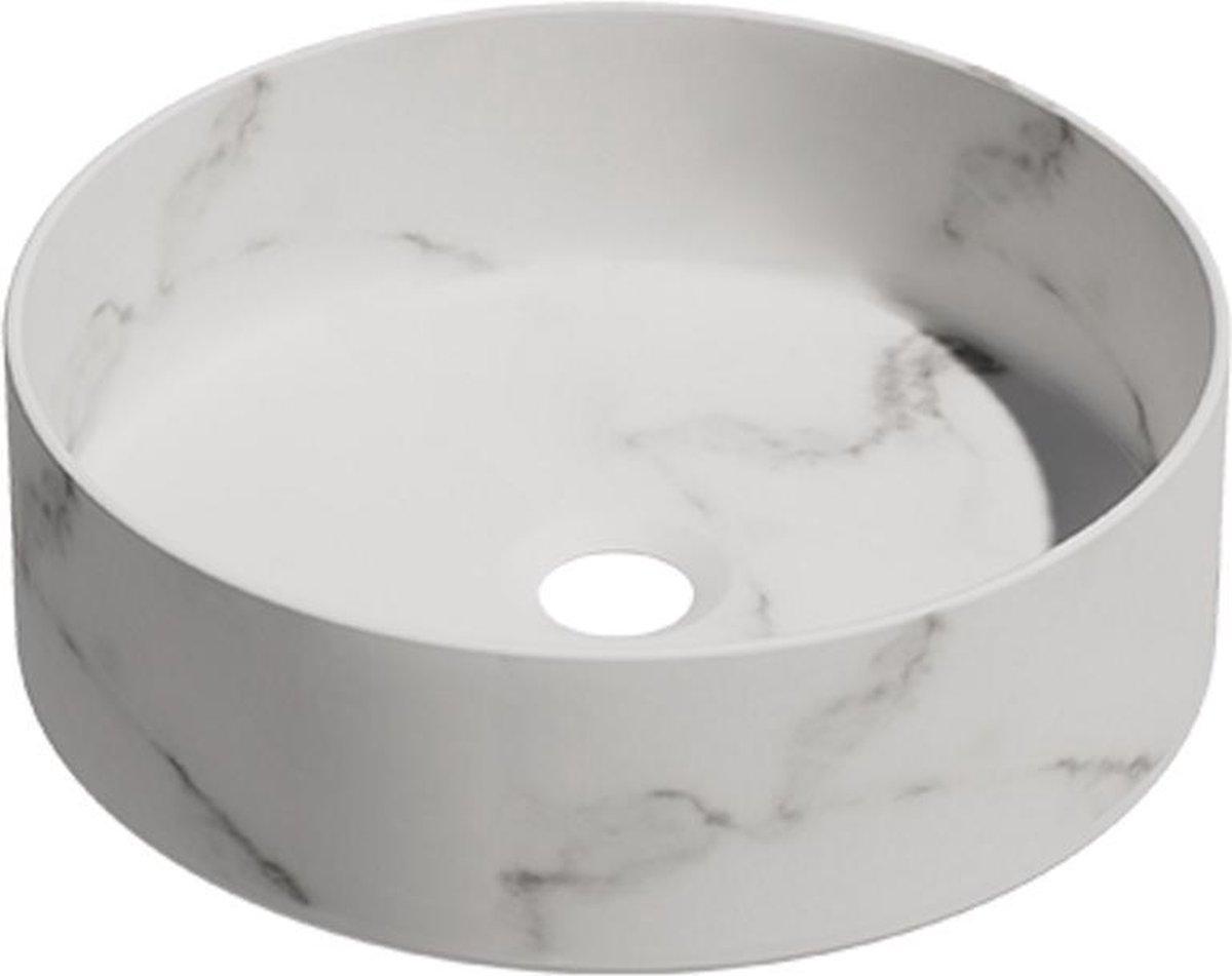 Keramische ronde opbouw waskom Calacata ø36cm kleur wit marmer