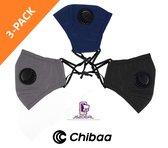 Chibaa - JS2DEAL - 3-Pack Zwart/Grijs/Blauw - Mondkapje Wasbaar Herbruikbaar Mondmasker Met Ventiel en 1 vervangbare PM2.5 Filter - Katoenen Mondmasker met ventiel en filter - ijzeren neusbeugel - Mouth Mask - Stoffen Mond masker - Mond Kapje