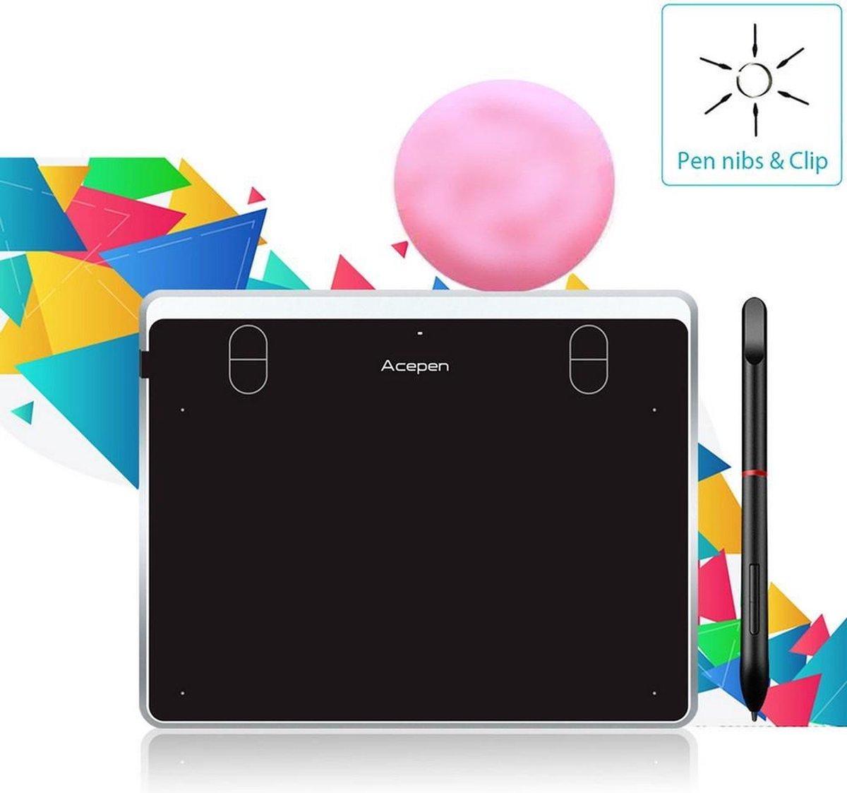 Acepen ® Tekentablet | Grafische tekentablet | 5080 LPI | PC - Laptop - Smartphone - Tablet | Zilver |