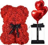 RX Goods® Rode Rozen Beer in Luxe Geschenkdoos met Liefdes Ballonnen – Roos Teddybear – Rose Bear