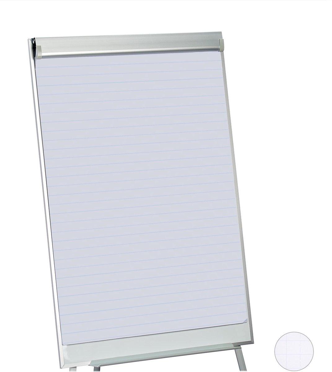 relaxdays flipover papier - flipchart papier - whiteboard papier - 50 vellen - papierblok Lijnen