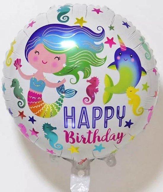 Ballon happy birthday zeemeermin 40 cm, verjaardags-ballon