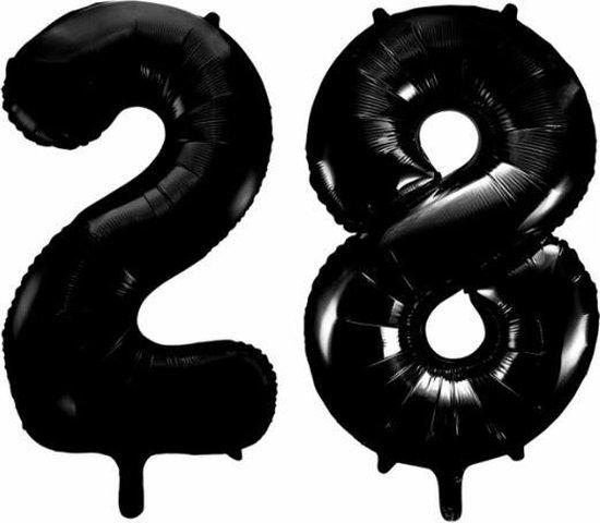Folieballon 28 jaar zwart 86cm